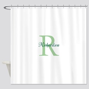 CUSTOM Initial and Name Green Shower Curtain