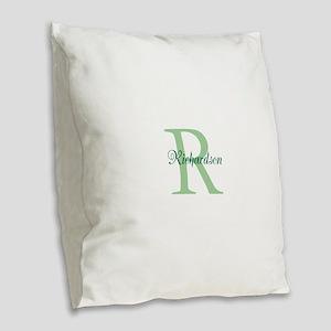 CUSTOM Initial and Name Green Burlap Throw Pillow