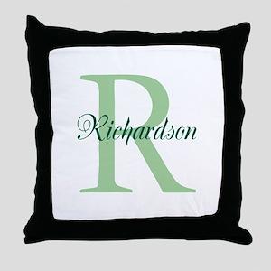 CUSTOM Initial and Name Green Throw Pillow