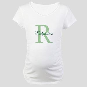 CUSTOM Initial and Name Green Maternity T-Shirt