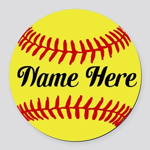 Personalized Softball Round Car Magnet