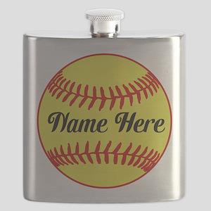 Personalized Softball Flask