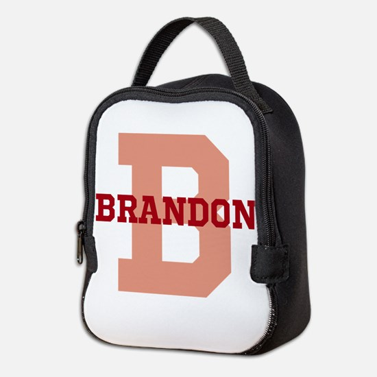 CUSTOM Initial and Name Red Neoprene Lunch Bag