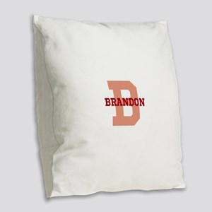 CUSTOM Initial and Name Red Burlap Throw Pillow