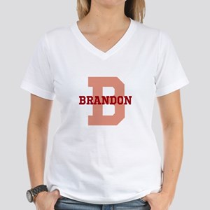 CUSTOM Initial and Name Red Women's V-Neck T-Shirt