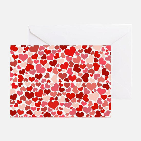 Abstract Red and Pink Hearts Pattern Greeting Card