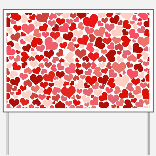 Abstract Red and Pink Hearts Pattern Yard Sign