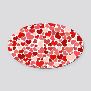 Abstract Red and Pink Hearts Patte Oval Car Magnet