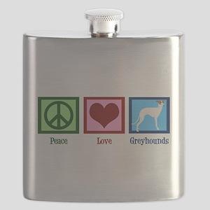 Peace Love Greyhounds Flask