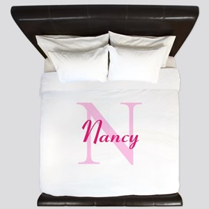 CUSTOM Initial and Name Pink King Duvet