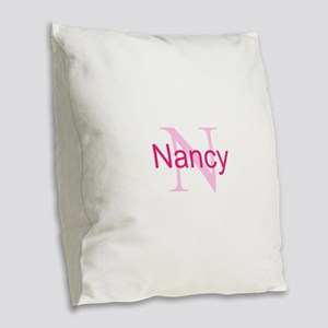 CUSTOM Initial and Name Pink Burlap Throw Pillow
