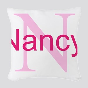 CUSTOM Initial and Name Pink Woven Throw Pillow