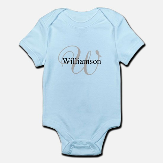 CUSTOM Initial and Name Gray/Black Infant Bodysuit