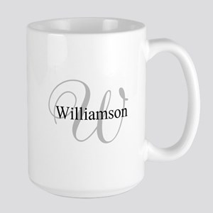 CUSTOM Initial and Name Gray/Black Large Mug