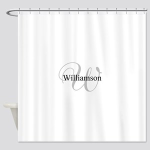 CUSTOM Initial And Name Gray Black Shower Curtain