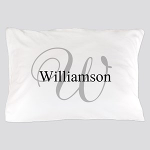 CUSTOM Initial and Name Gray/Black Pillow Case