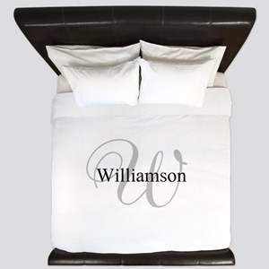 CUSTOM Initial and Name Gray/Black King Duvet
