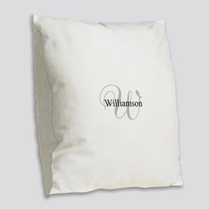 CUSTOM Initial and Name Gray/B Burlap Throw Pillow