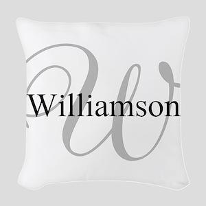 CUSTOM Initial and Name Gray/B Woven Throw Pillow