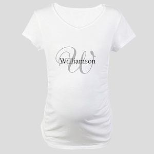 CUSTOM Initial and Name Gray/Bla Maternity T-Shirt