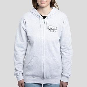 CUSTOM Initial and Name Gray/Bl Women's Zip Hoodie