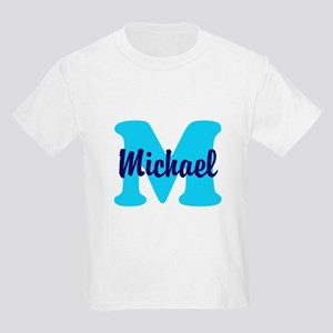 CUSTOM Initial and Name Blue Kids Light T-Shirt