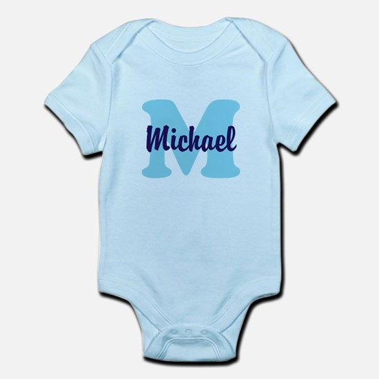 CUSTOM Initial and Name Blue Infant Bodysuit