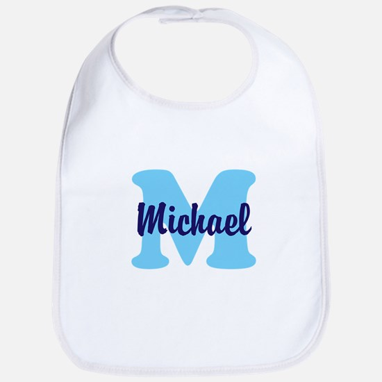CUSTOM Initial and Name Blue Bib