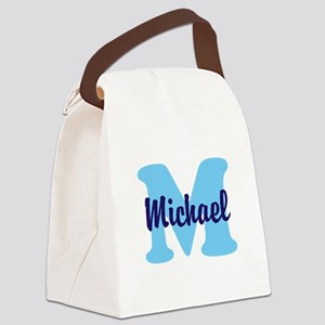 CUSTOM Initial and Name Blue Canvas Lunch Bag