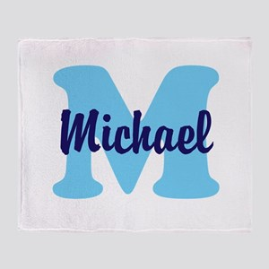 CUSTOM Initial and Name Blue Throw Blanket