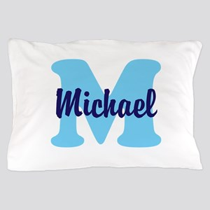 CUSTOM Initial and Name Blue Pillow Case