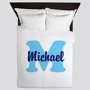 CUSTOM Initial and Name Blue Queen Duvet
