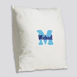 CUSTOM Initial and Name Blue Burlap Throw Pillow