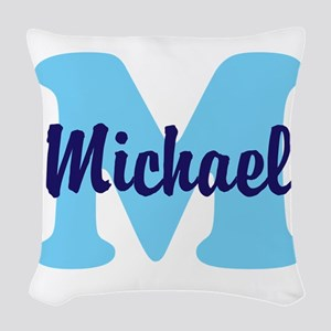 CUSTOM Initial and Name Blue Woven Throw Pillow