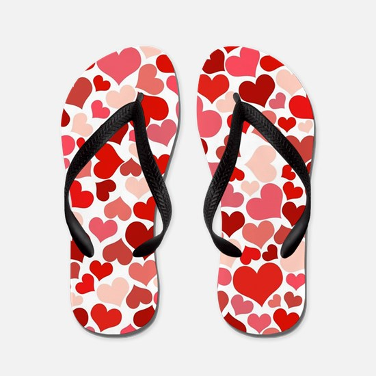 Abstract Red and Pink Hearts Pattern Flip Flops