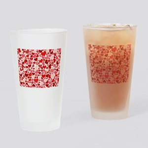 Abstract Red and Pink Hearts Patter Drinking Glass