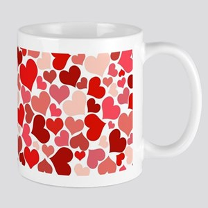 Abstract Red and Pink Hearts Pattern Mugs