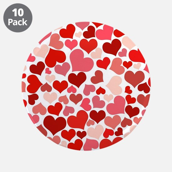 """Abstract Red and Pink Hearts 3.5"""" Button (10 pack)"""