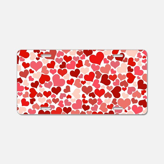 Abstract Red and Pink Heart Aluminum License Plate