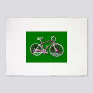 Ditch the Car Ride A Bicycle Green 5'x7'Area Rug