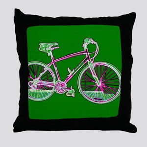 Ditch the Car Ride A Bicycle Green fo Throw Pillow