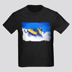 Yellow Snowmobile in Blizzard Edges T-Shirt