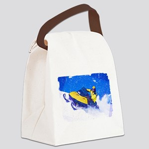 Yellow Snowmobile in Blizzard Edg Canvas Lunch Bag