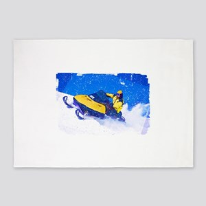 Yellow Snowmobile in Blizzard Edges 5'x7'Area Rug