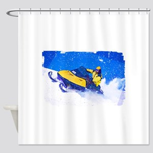 Yellow Snowmobile in Blizzard Edges Shower Curtain