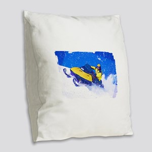 Yellow Snowmobile in Blizzard Burlap Throw Pillow