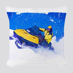 Yellow Snowmobile in Blizzard Woven Throw Pillow