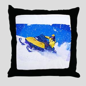 Yellow Snowmobile in Blizzard Edges.p Throw Pillow
