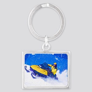 Yellow Snowmobile in Blizzard Edges Keychains