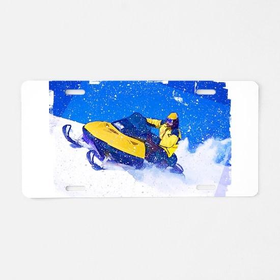 Yellow Snowmobile in Blizza Aluminum License Plate